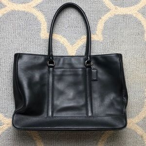 COACH Black leather office tote bag
